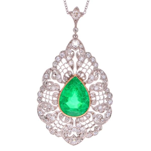 Closeup photo of Art Deco Platinum Set 5.10ct Zambian Emerald & Diamond Pendant