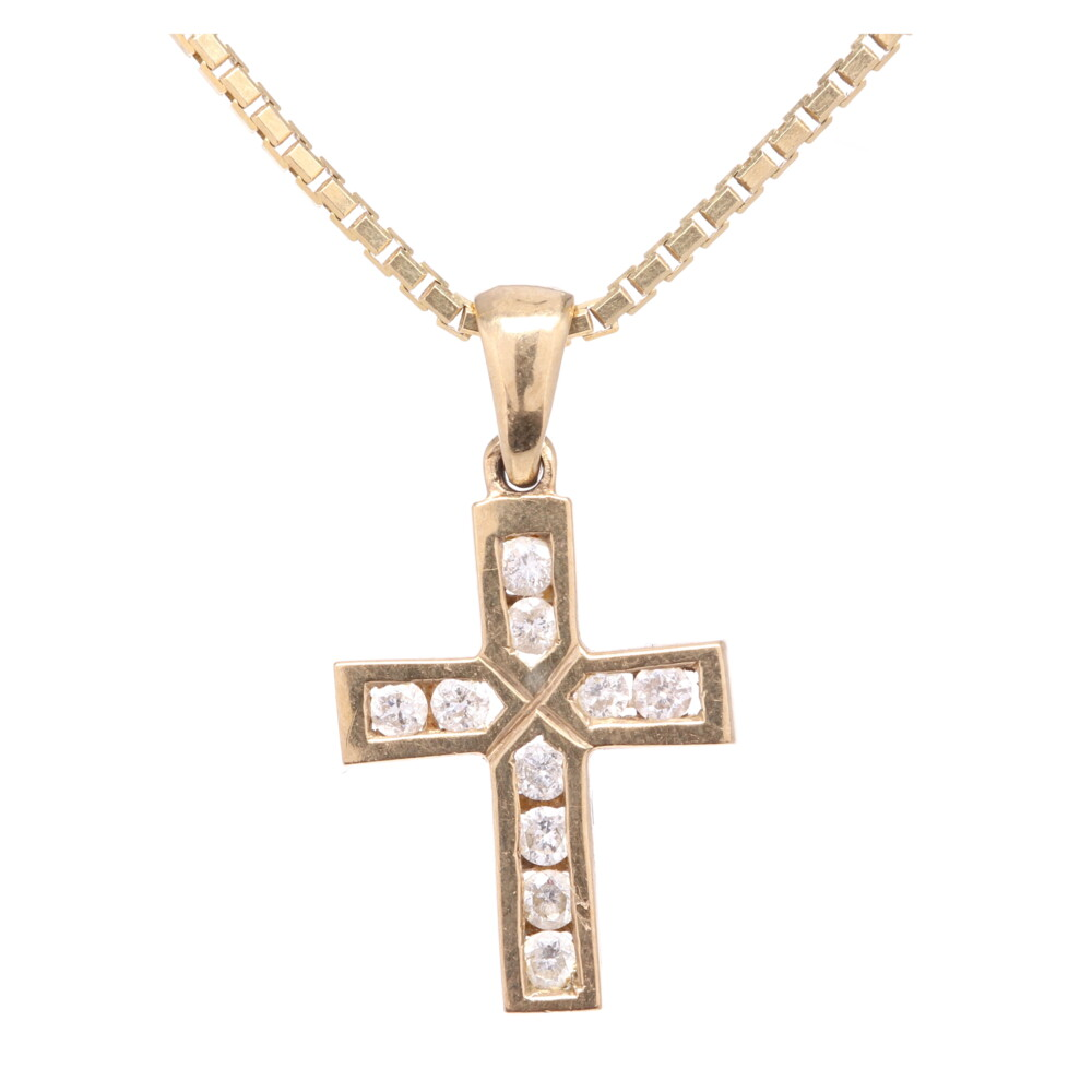"14K Yellow Gold Diamond Cross .75"" Tall, .16tcw on Italian Box Chain Necklace 4.0g, 18"" Long x 1.2mm"