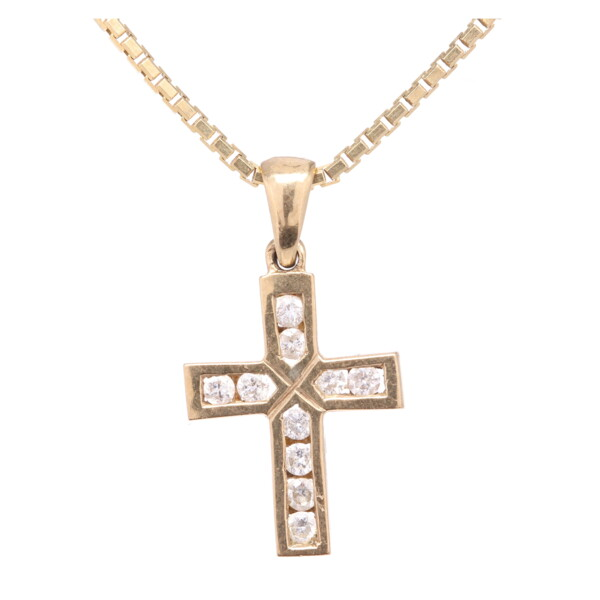 "Closeup photo of 14K Yellow Gold Diamond Cross .75"" Tall, .16tcw on Italian Box Chain Necklace 4.0g, 18"" Long x 1.2mm"