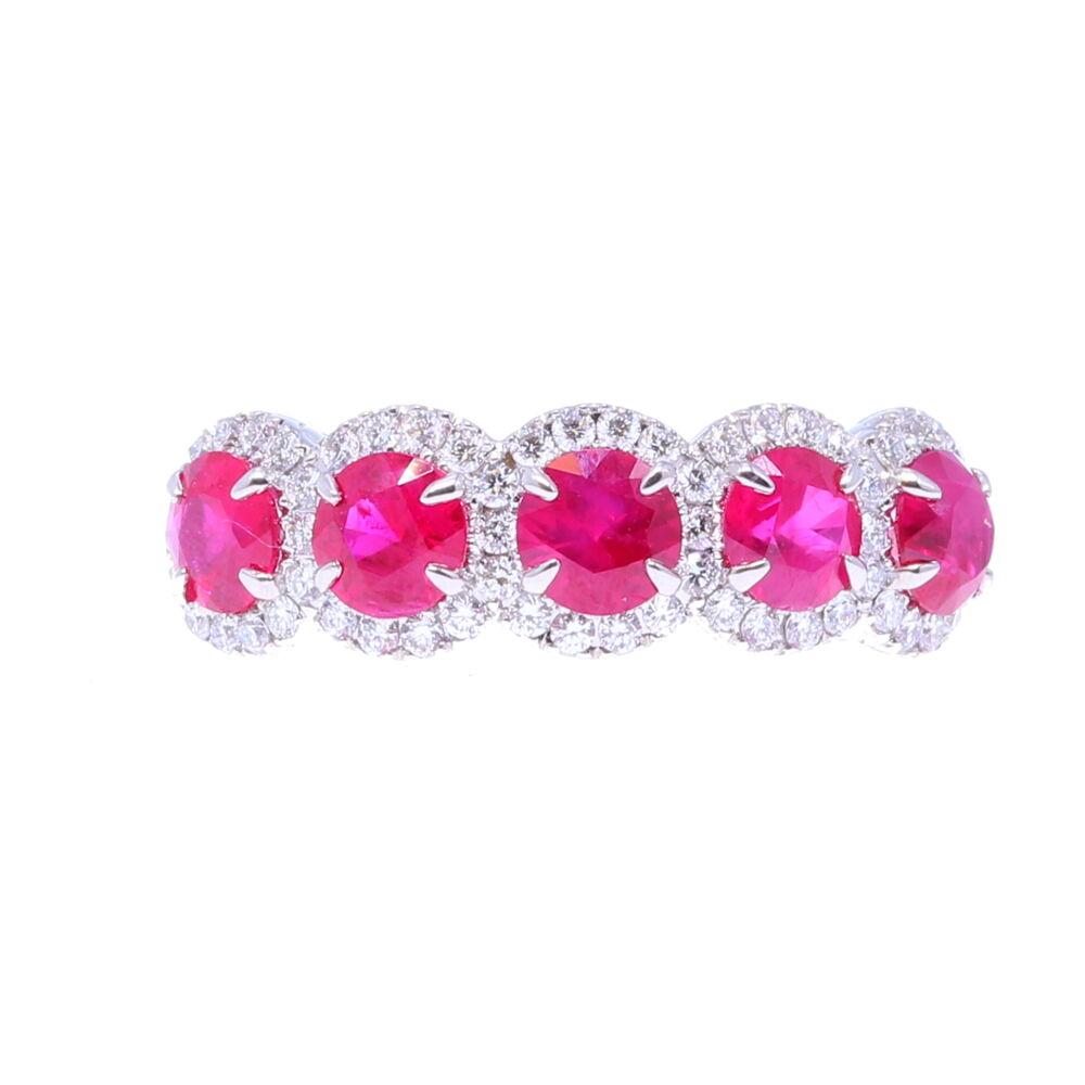5 Halo Set Ruby Stones