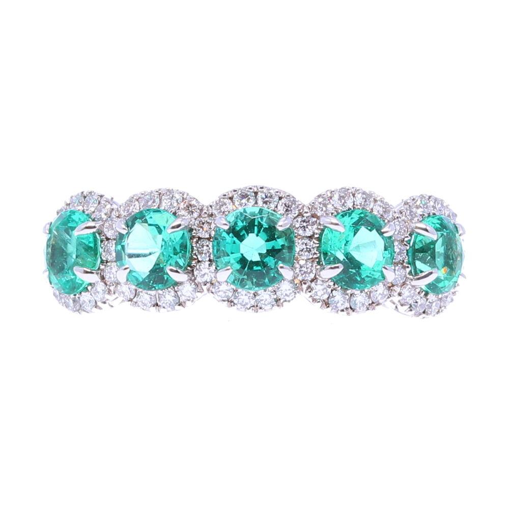 5 Emerald Stone Halo Ring