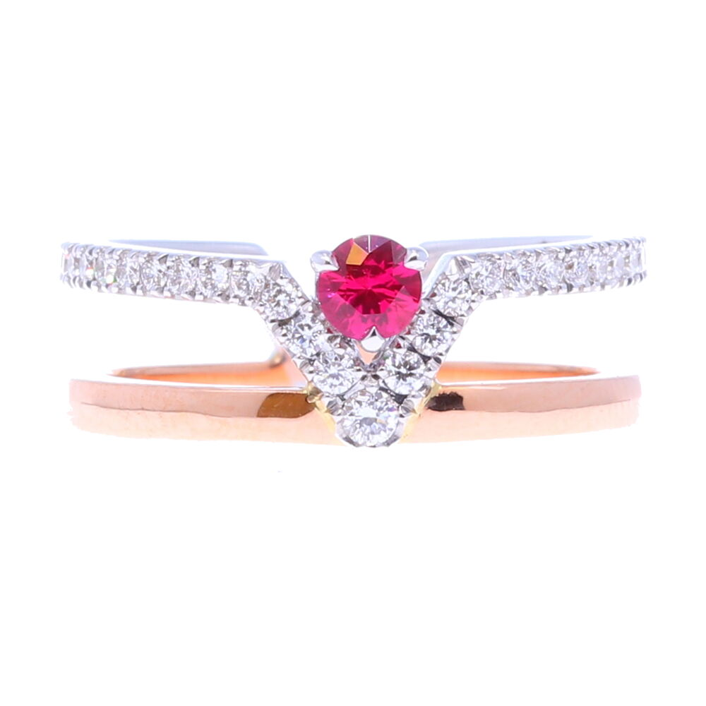 Ruby V Double Band Ring