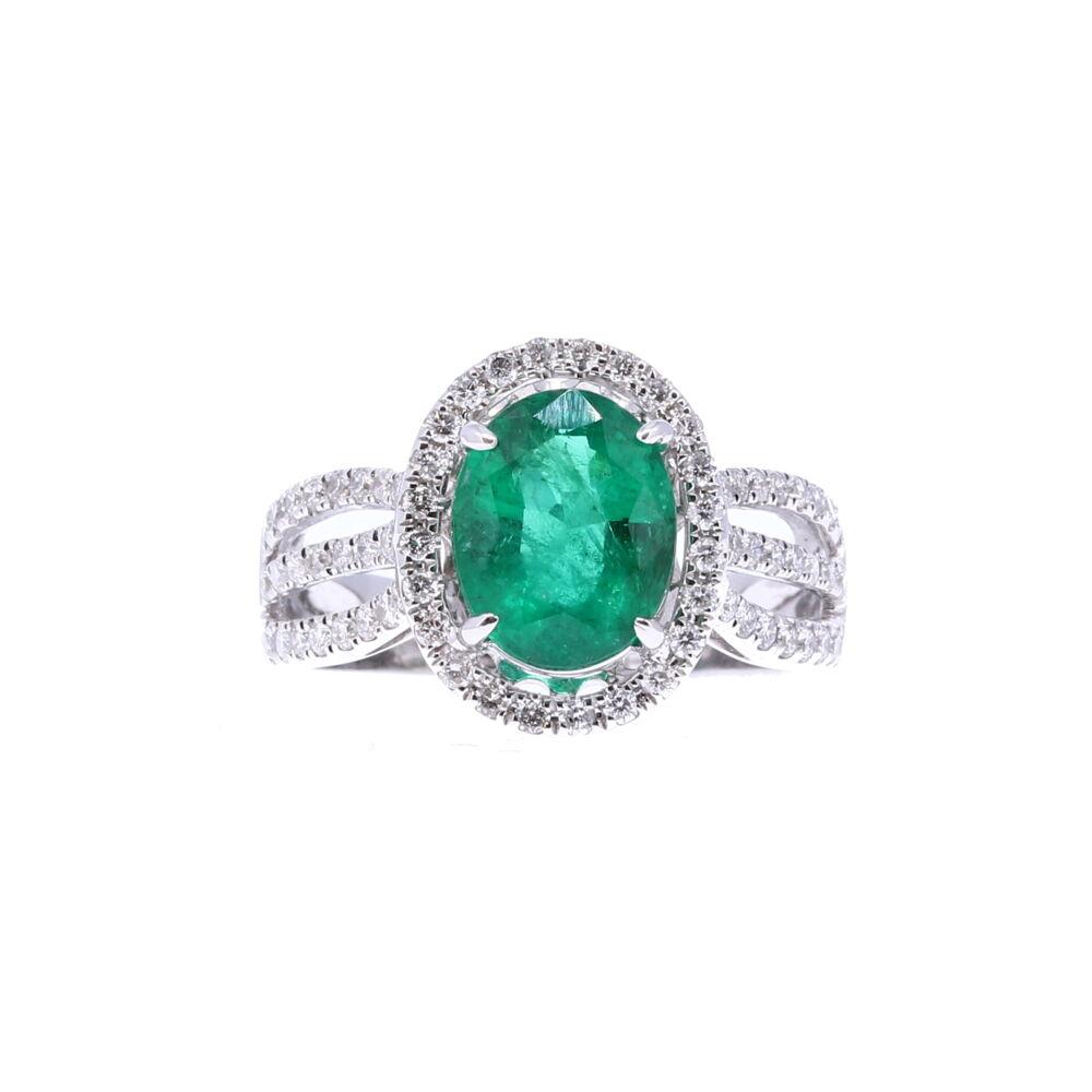 Oval Zambian Emerald Halo Set Ring