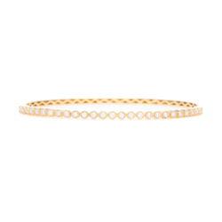 Closeup photo of 18k Yellow Gold Diamond Bezel Set Bangle