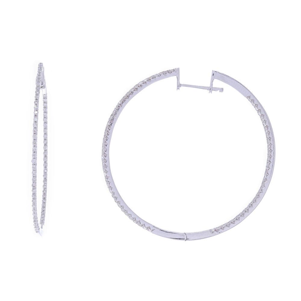14k White Gold Round Diamond Thin Hoops