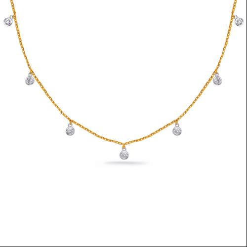 14k Yellow Gold Dangling Diamond Necklace