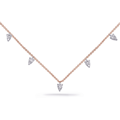 14k Rose Gold Dangling Diamond Necklace
