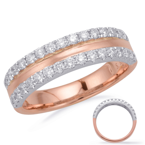 14k Brushed Rose Gold Double Diamond Band