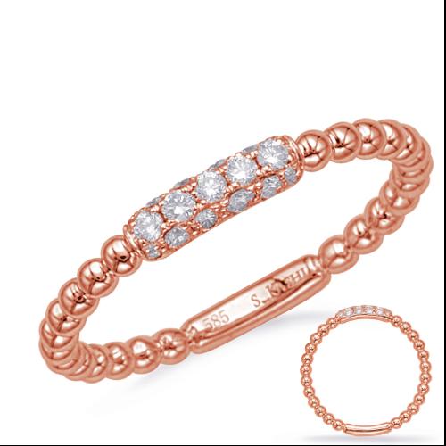 Closeup photo of 14k Rose Gold Ball Diamond Ring
