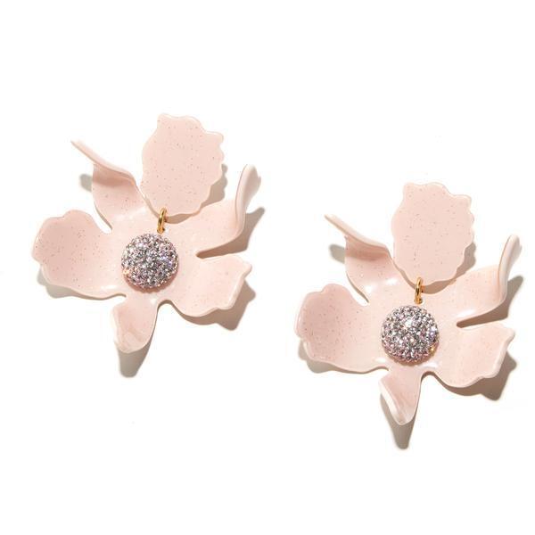 Dusty Pink Crystal Lily Earrings
