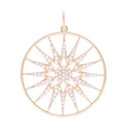 Closeup photo of Large Starburst Disk 14k gold with diamonds
