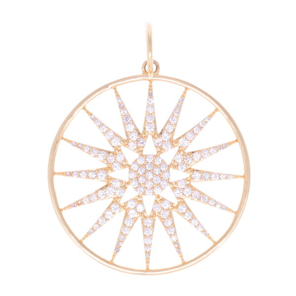 Closeup photo of Large Starburst Disk 14k gold with diamonds