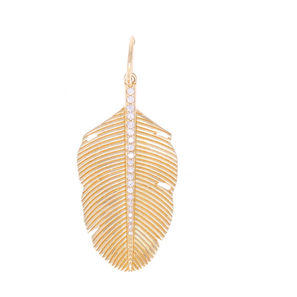 Large Textured Palm Leaf with Diamonds