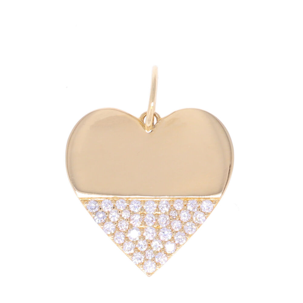 14k Gold Heart Dipped in Diamonds