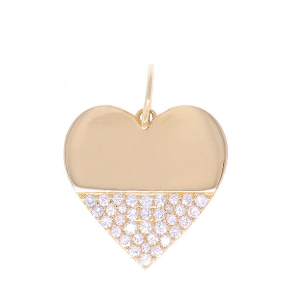 Closeup photo of 14k Gold Heart Dipped in Diamonds