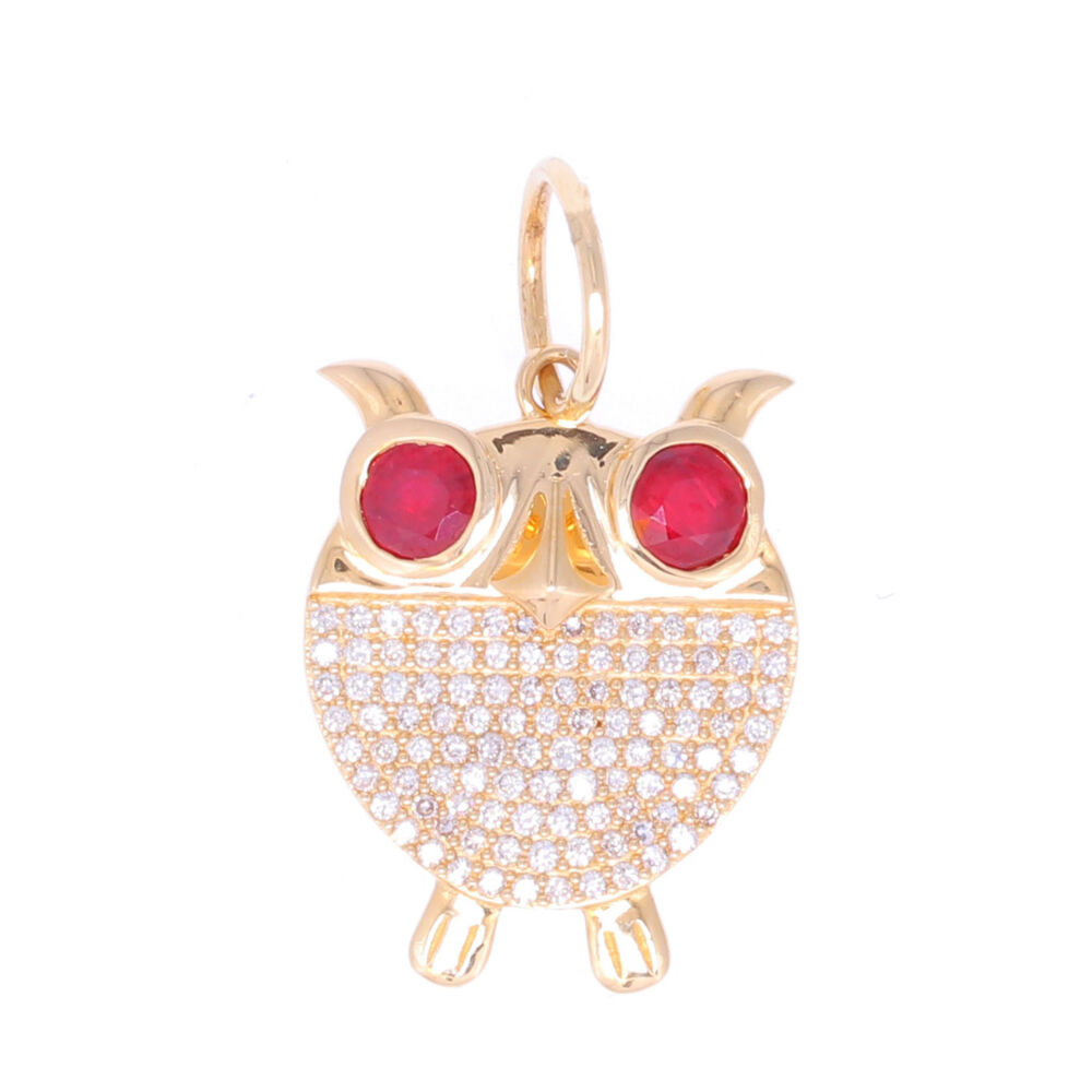 Owl Pendant with Ruby Eyes and Diamond Body