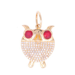 Closeup photo of Owl Pendant with Ruby Eyes and Diamond Body