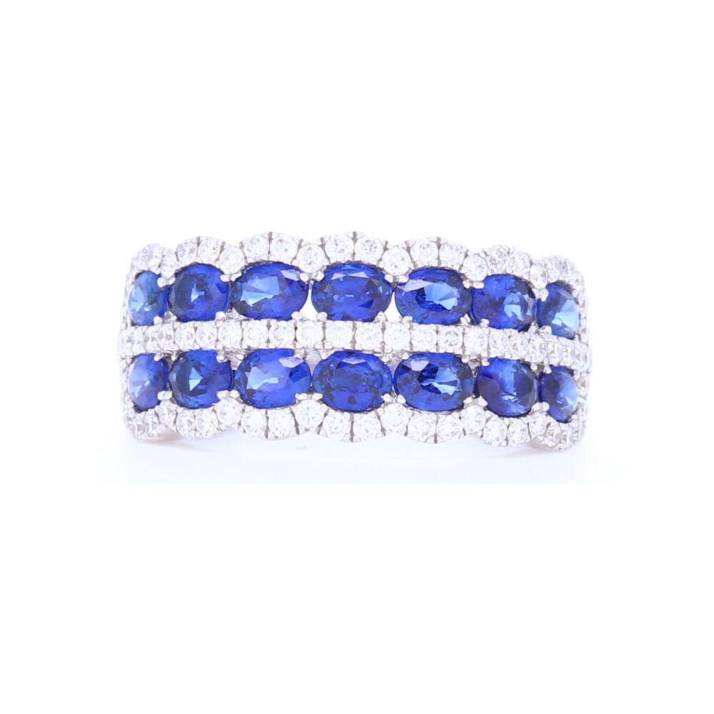 18k White Gold Double Row Sapphire and Diamond Statement Ring