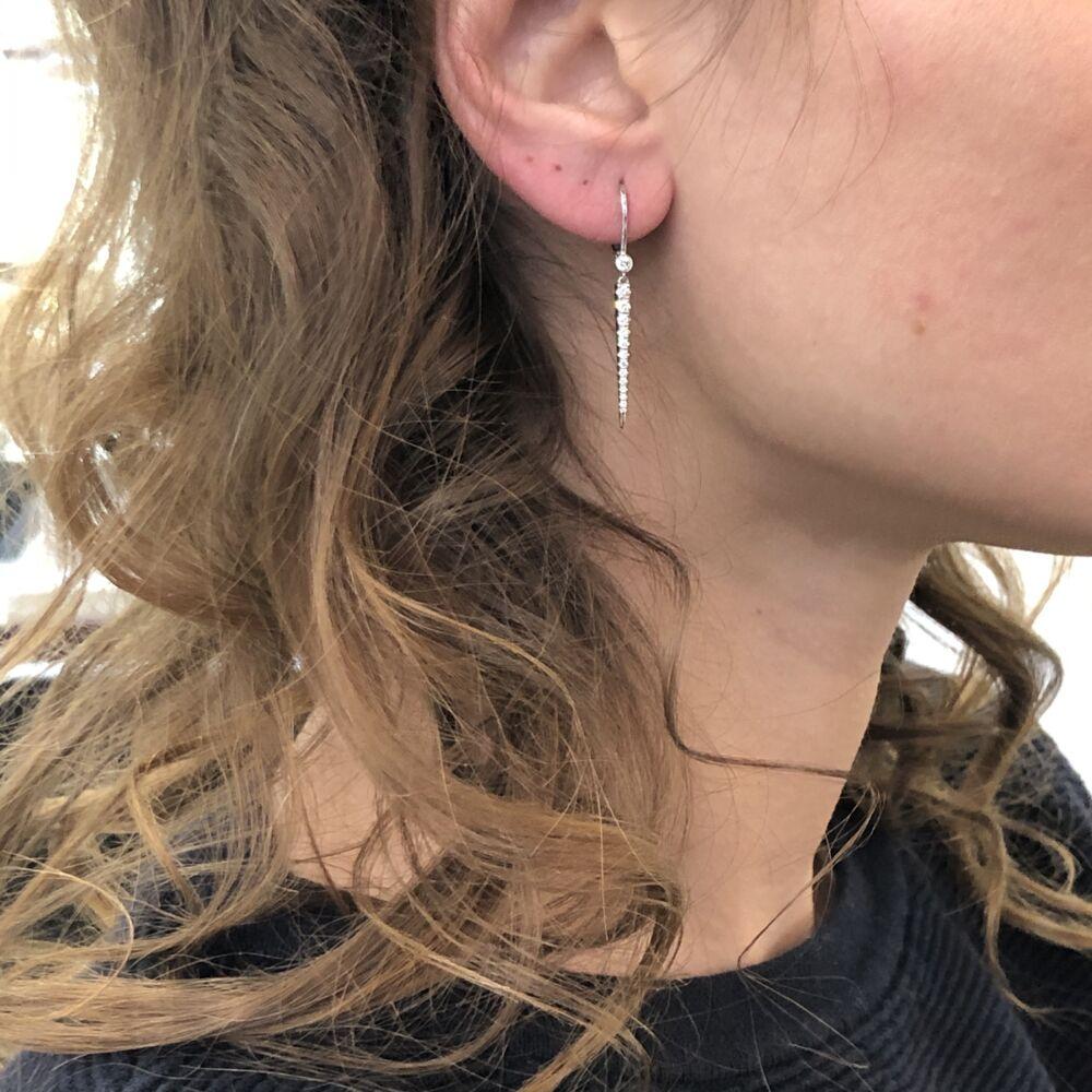 18K WG Long Diamond Spike Earrings .38tcw 2.5g