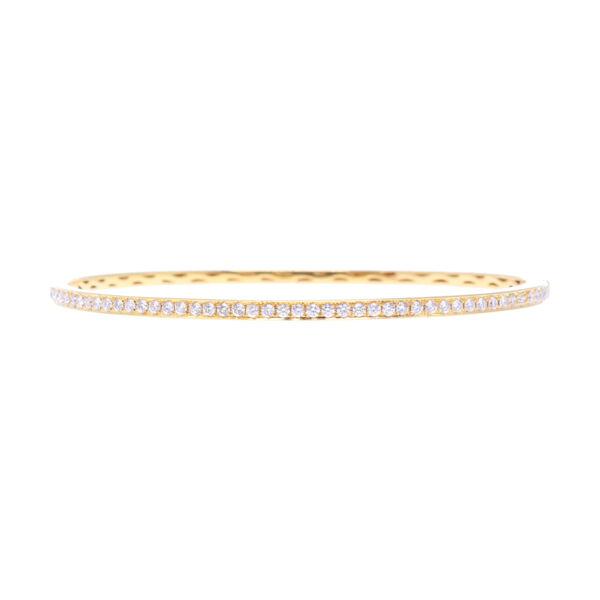 Closeup photo of Slim Hinged Bangle 18k Gold with Diamonds