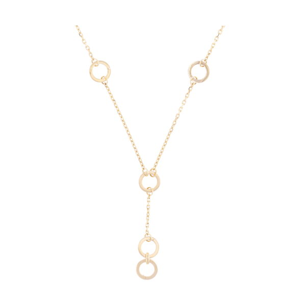 Closeup photo of 14k Gold Lariat Necklace with Five Openable Stations