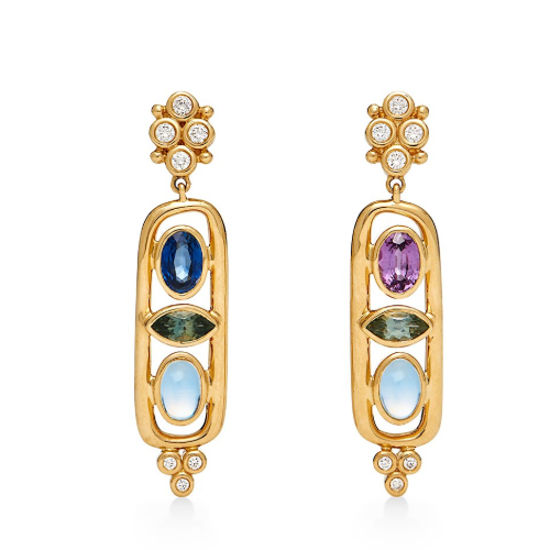 Closeup photo of 18K Theodora Cartouche Earrings
