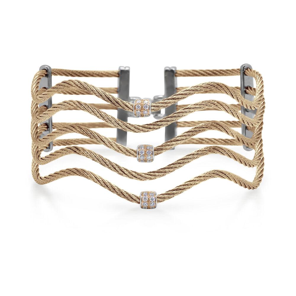 Cable Wave Bracelet with 18kt Rose Gold & Diamonds