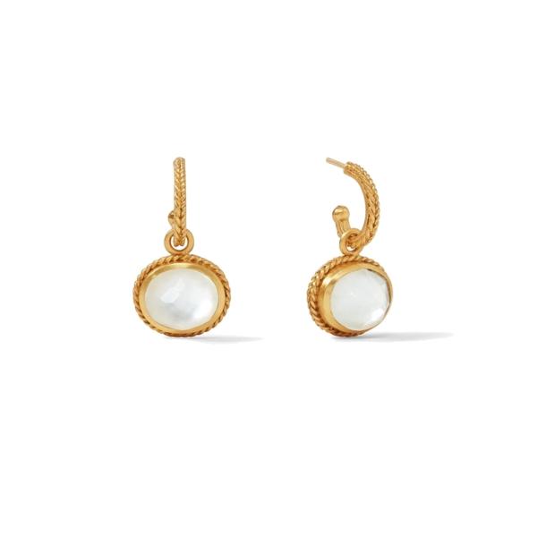 Closeup photo of Calypso Hoop & Clear Crystal Charm Earring