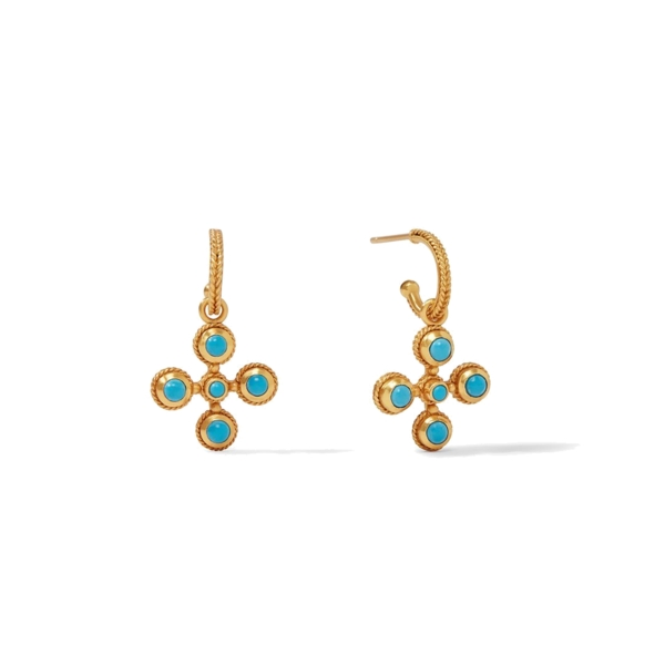 Closeup photo of Somerset Hoop & Charm Earrings in Pacific Blue