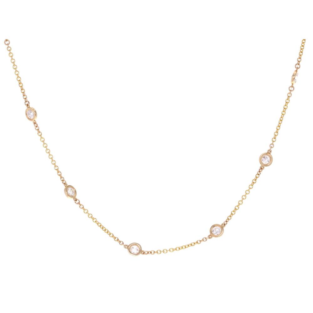 BEZEL-SET 14 STONE DIAMOND NECKLACE