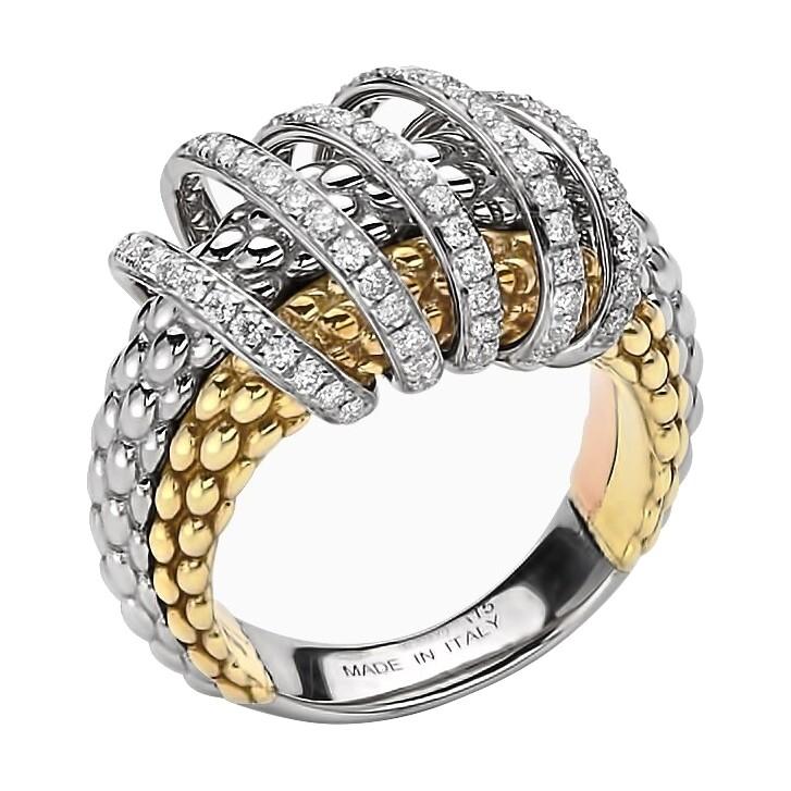 Tri Color Multi Wrap Pave Diamond Ring