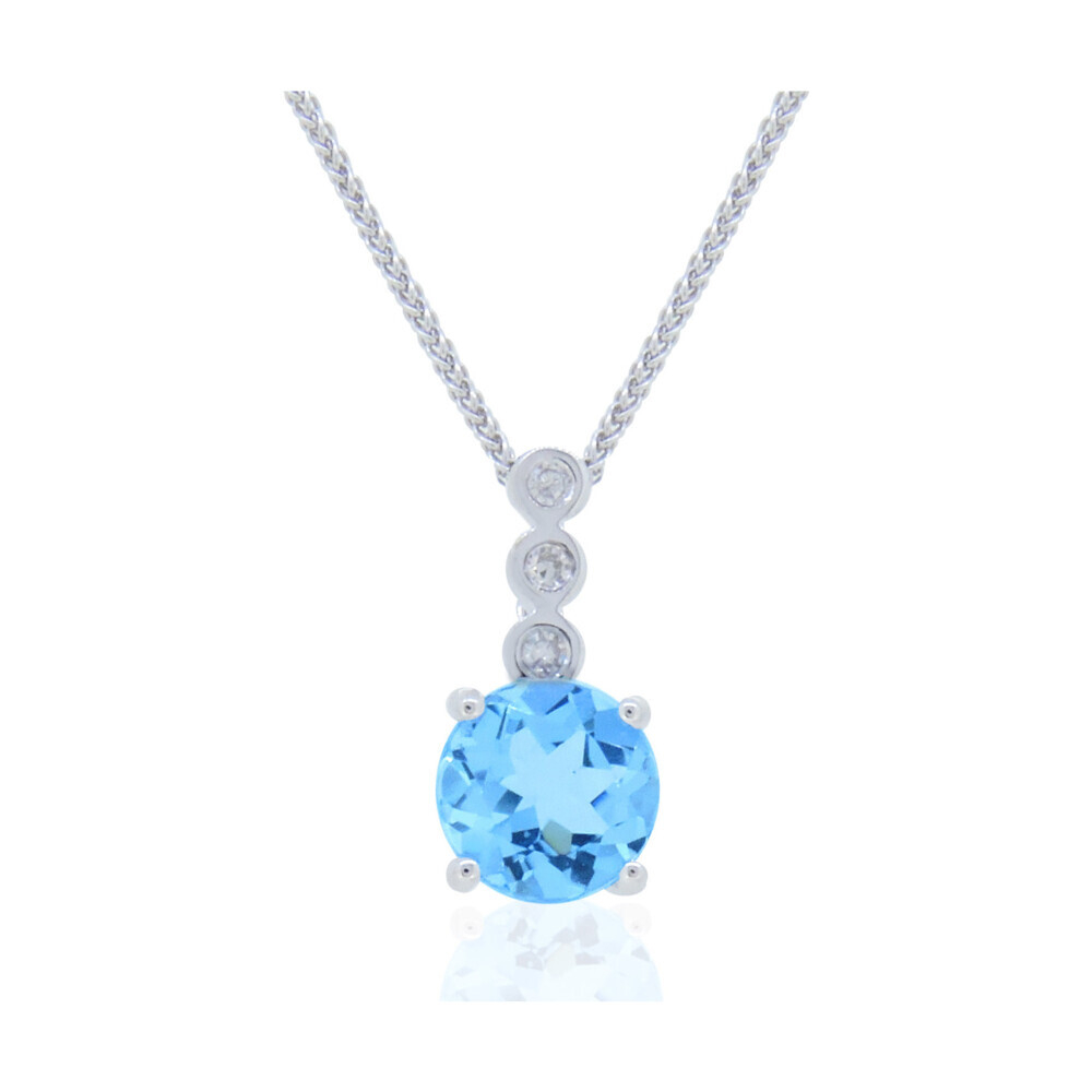 14k White Gold Diamond and Aquamarine Pendant with Chain