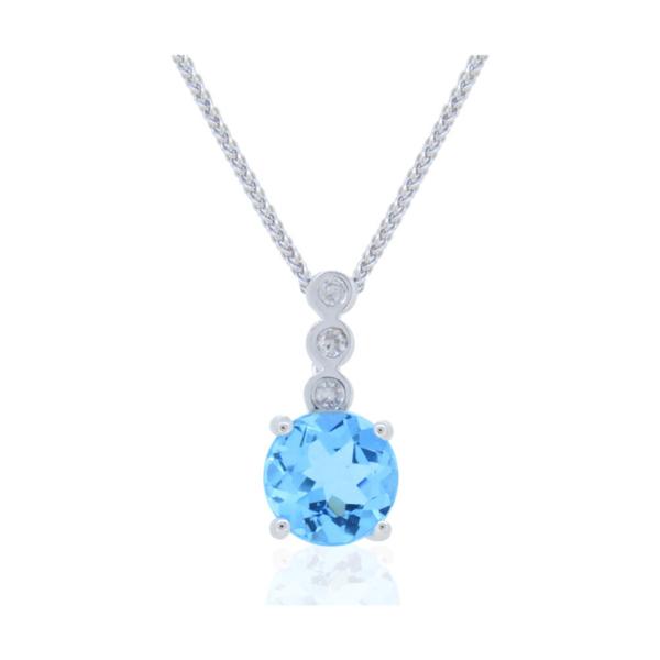 Closeup photo of 14k White Gold Diamond and Aquamarine Pendant with Chain