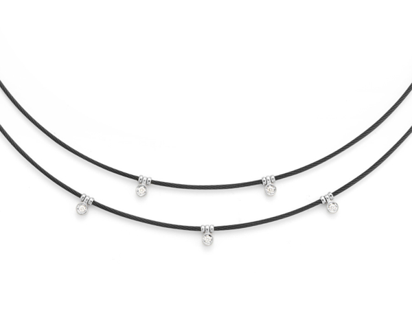 Closeup photo of Black Cable Layered Necklace with 18kt White Gold & Diamonds – ALOR