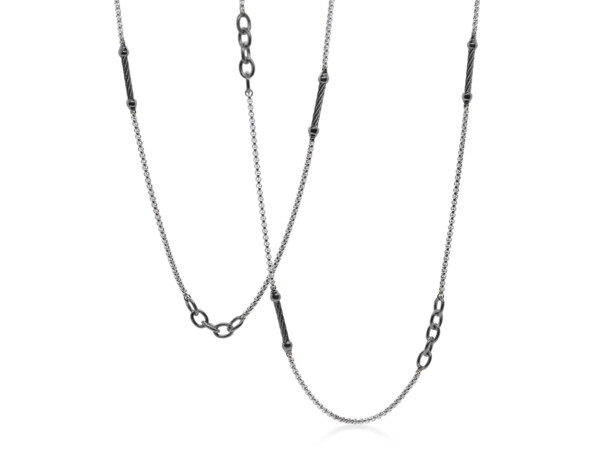 Closeup photo of Grey & Steel Grey Chain Reaction Necklace – ALOR