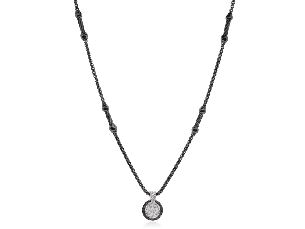 Black Chain Expressions Scattered Necklace with 14kt White Gold & Diamonds – ALOR