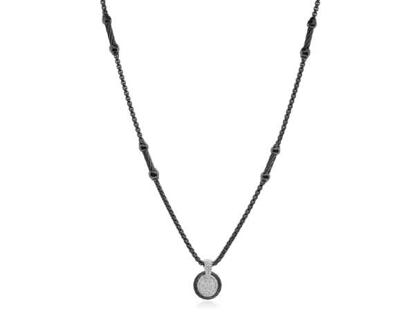 Closeup photo of Black Chain Expressions Scattered Necklace with 14kt White Gold & Diamonds – ALOR
