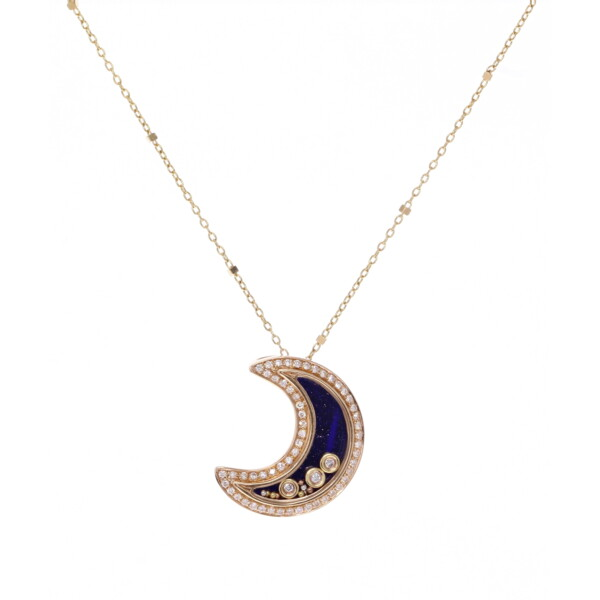 Closeup photo of 14k Gold Moon Outlined in Diamonds W/Floating Diamonds and Blue Sand Stone Back