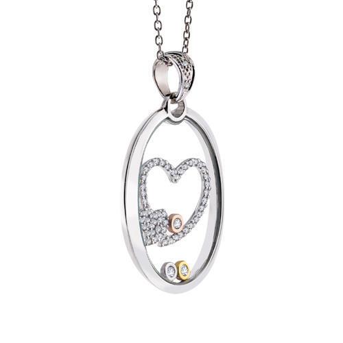 14k Floating Diamond Heart Pendant