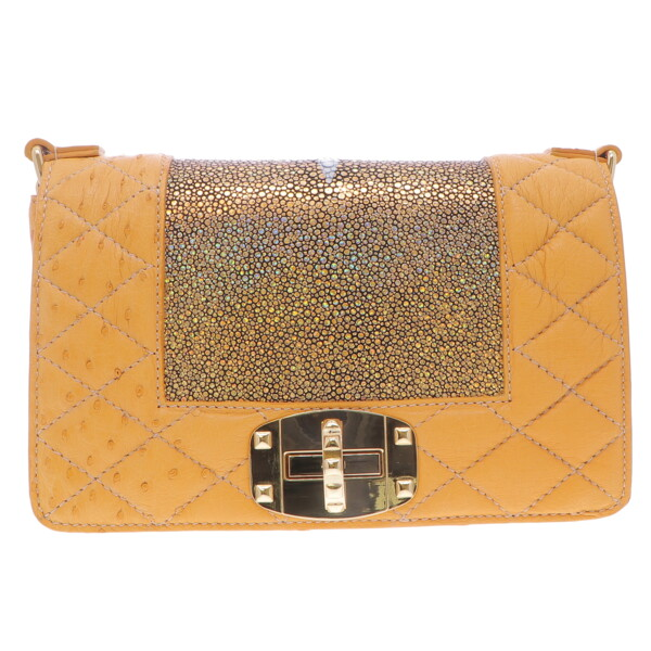 Closeup photo of Gold Ostrich & Stingray Chain Bag