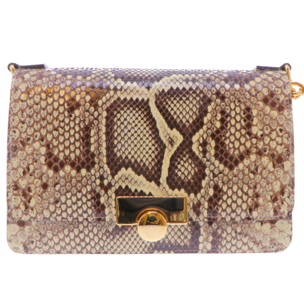 Closeup photo of Natural Python Chain Bag w/ Gold Hardware