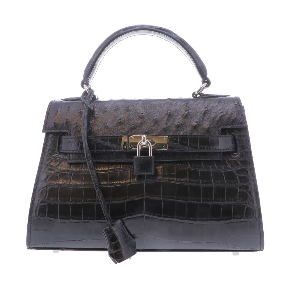 Black Nile Crocodile  & Ostrich Top Handle Bag