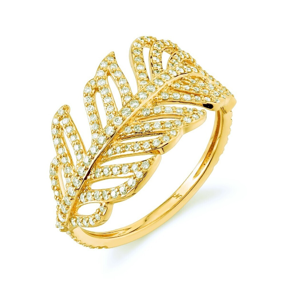 Feather Ring with White Diamond Detail