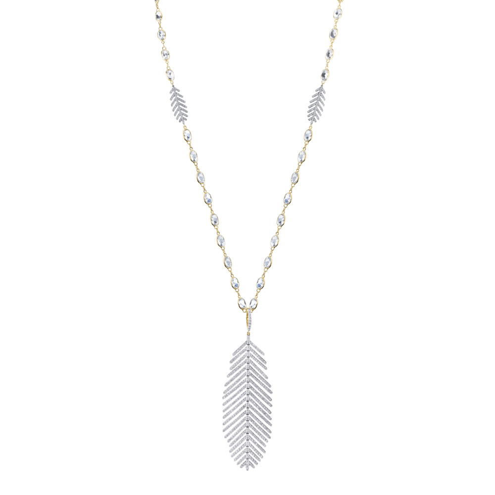 Feather Pendant Necklace with White Diamond Detail