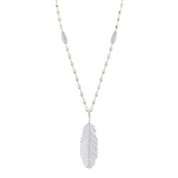Closeup photo of Feather Pendant Necklace with White Diamond Detail