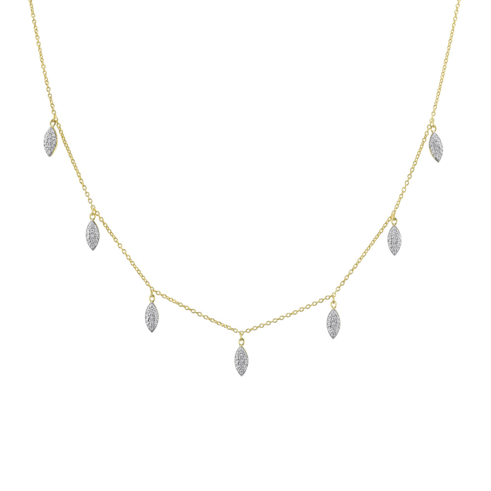 Pave Diamond Marquis Drop Necklace