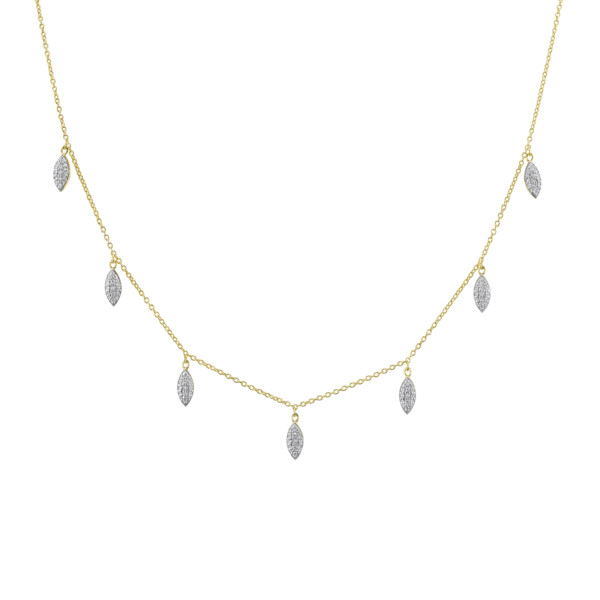 Closeup photo of Pave Diamond Marquis Drop Necklace