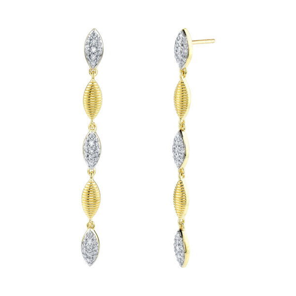 Closeup photo of Marquise Drop Earrings with Strie and White Diamond Detail