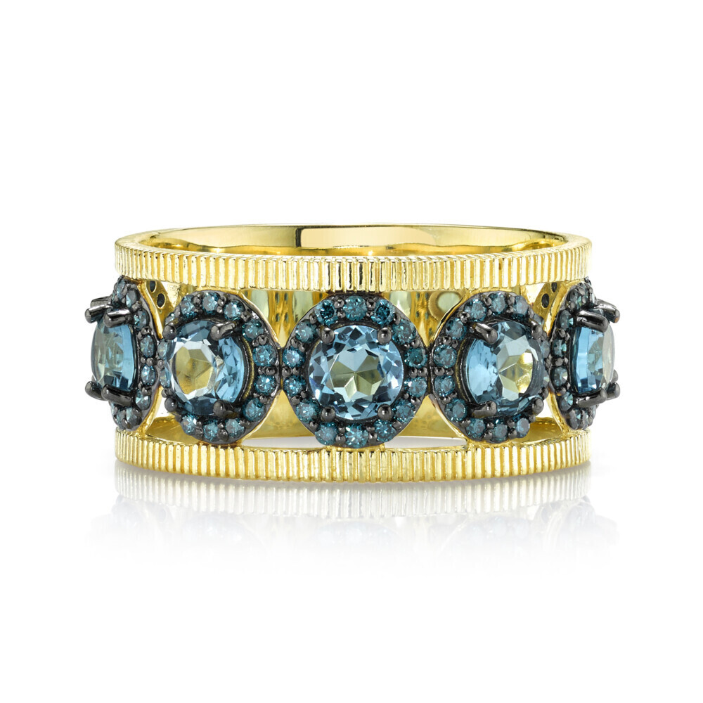 London BLue and Blue Diamond Band with Strie Detail