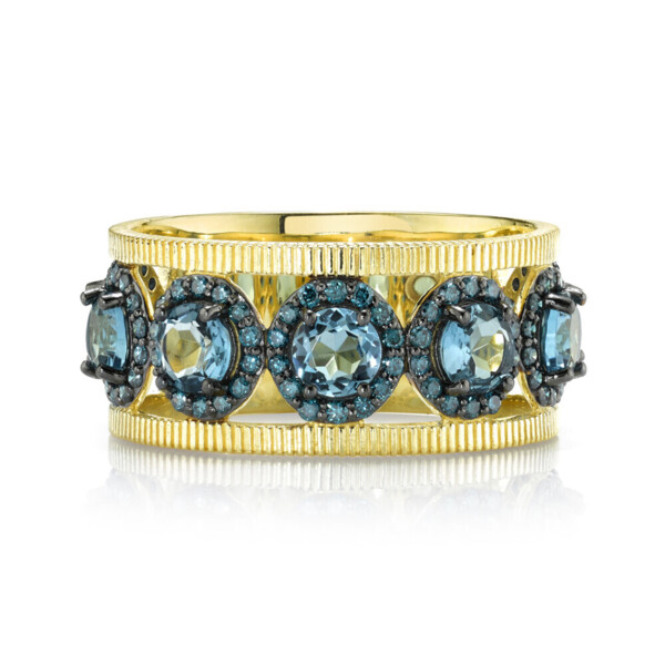 Closeup photo of London BLue and Blue Diamond Band with Strie Detail
